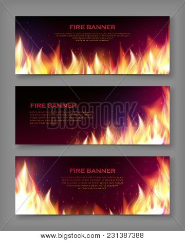Realistic Fire Flames Banner Set Vector Illustration