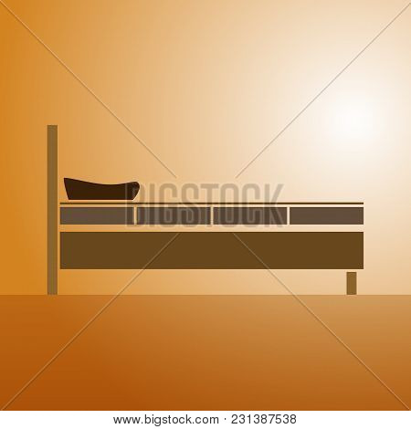 Realistic Illustration Of A Bed With Pillows And Blanket. Side View On A Light Brown Background. Fla