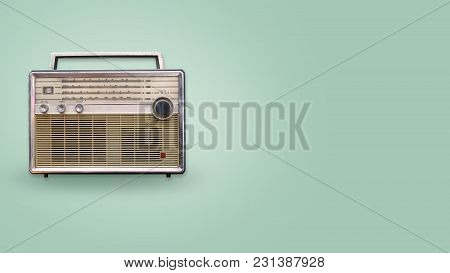 Vintage Radio On Color Background. Retro Technology. Flat Lay, Top View Hero Header. Vintage Color S