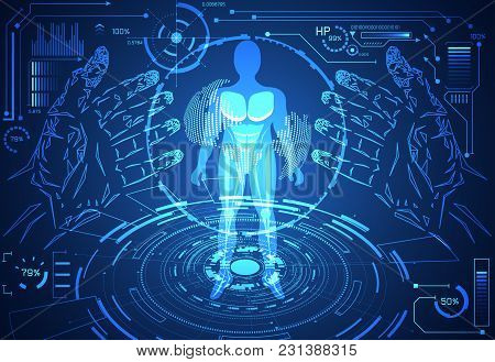 Abstract Technology Science Human Data Health Digital Hud Interface Elements Of Medicine On Hi Tech Future Design Background