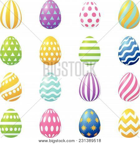 Vector Easter Eggs Set.