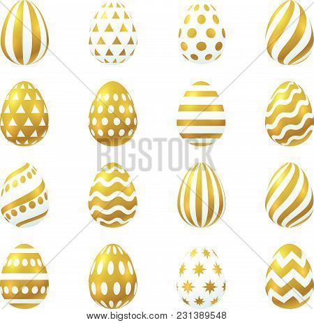 Vector Illustration, Big Set Of 3d Easter Golden Eggs. Eps 10 File.