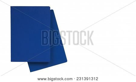 Blue International Passport Isolated On White Background. Copy Space, Template.