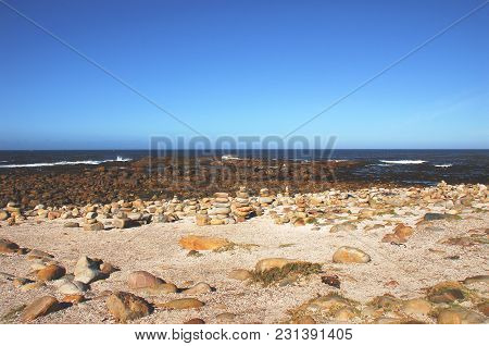 Early Morning At The Cape Of Good Hope In South Africa Means That No One Is There To Stack The Stone
