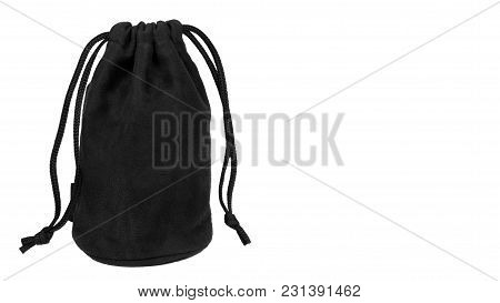Black Textile Sack Isolated On White Background. Copy Space, Template.