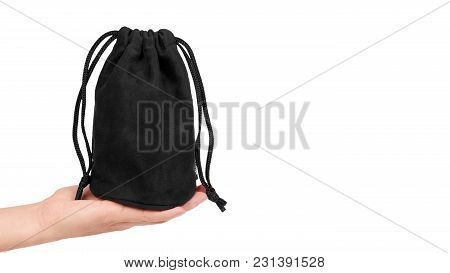Black Textile Sack Isolated On White Background . Copy Space, Template.