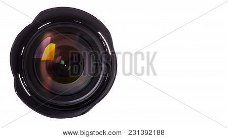 Black Camera Lens Isolated On White Background. Copy Space, Template.
