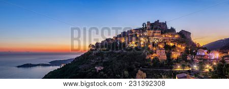 Panoramic View Of Medieval Hilltop Village Eze At Dusk,  Alpes-maritimes, France