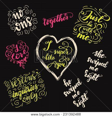 Set Of Greeting Lettering Phrases For Valentine's Day. Vector Illustration.