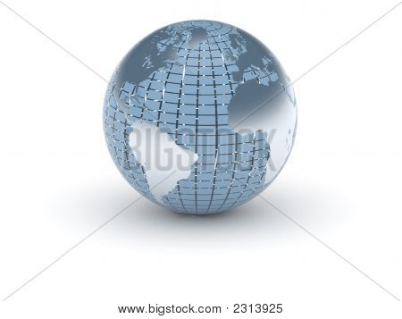 (3D) World In Blue And Metal