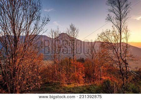 Mountain Landscape At Sunset In Autumn, Mala Fatra National Park, Slovakia, Europe.