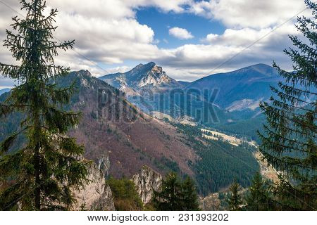 Mountain Landscape In Autumn Season, The Great Rozsutec Hill In The Vratna Valley At The National Pa