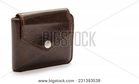 Brown Leather Wallet. Isolated On White Background. Copy Space, Template