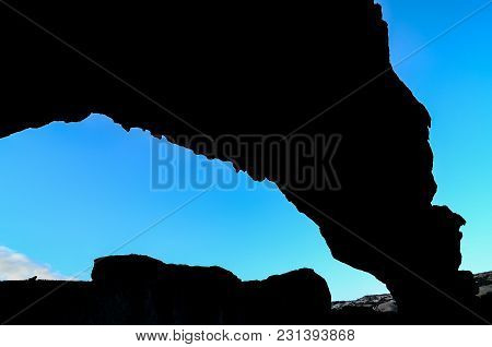 Volcanic Formation Natural Arch In The Desert Tenerife Canary Islands Spain