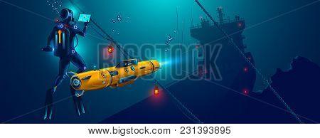 Underwater Autonomous Robot Exploration Sea Floor. Underwater Drone With Diver Explorat The Place Sh