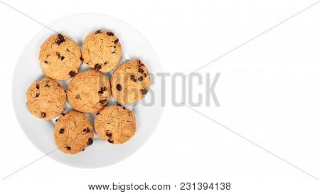 Pile Of Chocolate Chip Cookies On A Dish Isolated On White Background. Copy Space, Template.