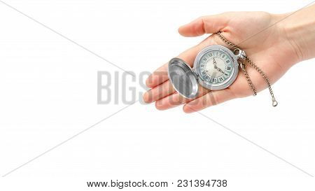 Female Hand Takes Or Gives Pocket Watch. Isolated On White Background. Copy Space, Template