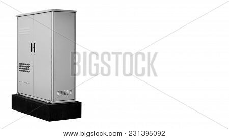 Isolated On White Background Electric Switchboard Production, Gray. Copy Space, Template
