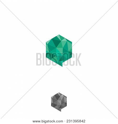 Hexagon Bubbles Chat Geometric Design Concept. App Digital Tech Vector Business Logo Template Concep