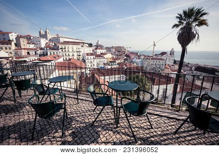 Lisbon Old Town Cityscape At Sunny Day, Portugal