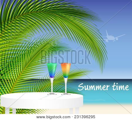 Tropical Trip Concept. Ocean And Palm Tree Landscape With Two Cocktails