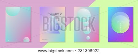 Holographic Cover Set With Fluid. Geometric Shapes On Gradient Background. Trendy Hipster Template F
