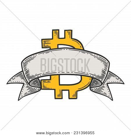 Bitcoin Stock Vector Image, Digital Currency, Cryptocurrency Money, Bitcoin Symbol With Ribbon. Dood