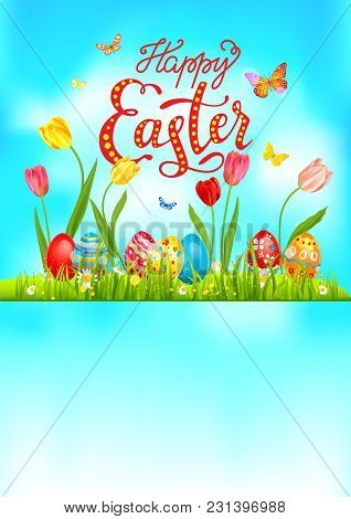 Bright Easter Eggs On A Grass. Easter Holiday Background For Design Card, Banner, Ticket, Leaflet, P