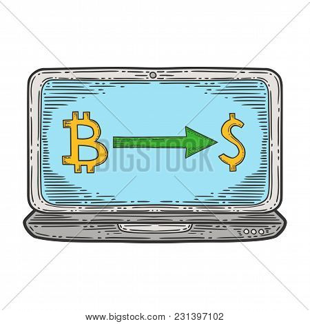 Bitcoin Exchange Stock Vector Image, Digital Currency, Cryptocurrency Money, Laptop, Bitcoin Symbol.