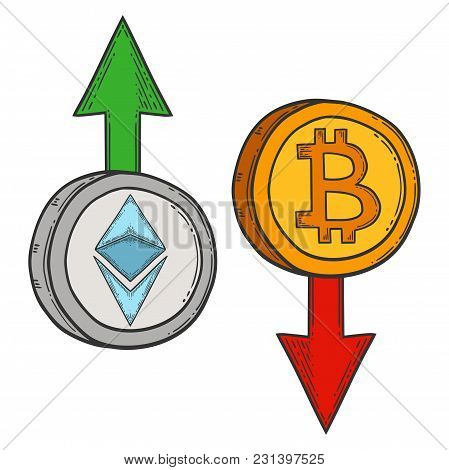 Bitcoin And Ethereum Growth And Increase Stock Vector Image, Digital Currency, Cryptocurrency Money,