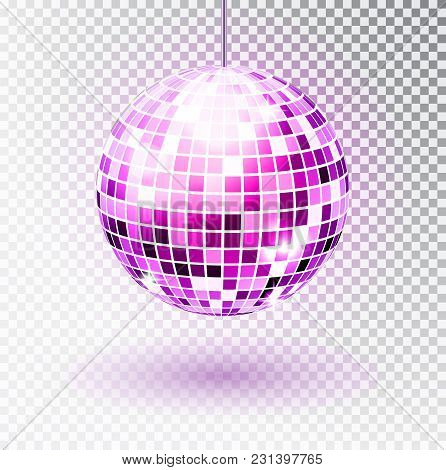Disco Ball. Vector Illustration. Isolated. Night Club Party Light Element. Bright Mirror Ball Design