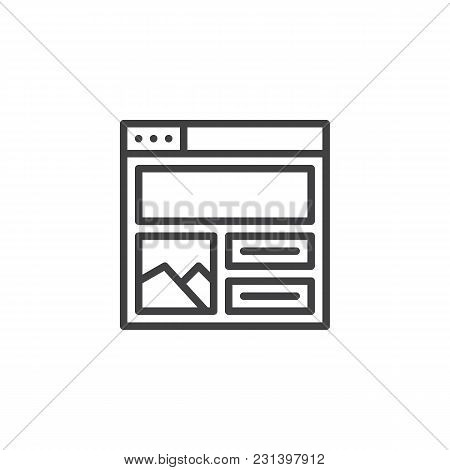 Web Browser With Content Design Outline Icon. Linear Style Sign For Mobile Concept And Web Design. W