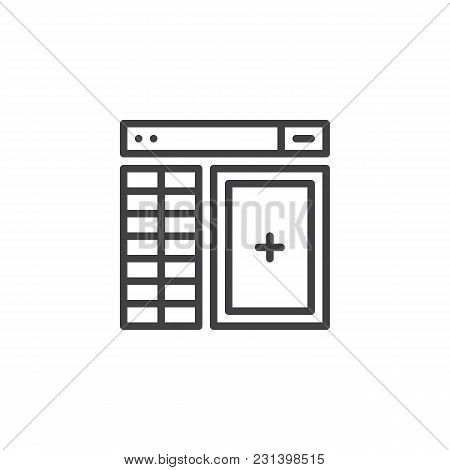 Database Management Outline Icon. Linear Style Sign For Mobile Concept And Web Design. Website Templ