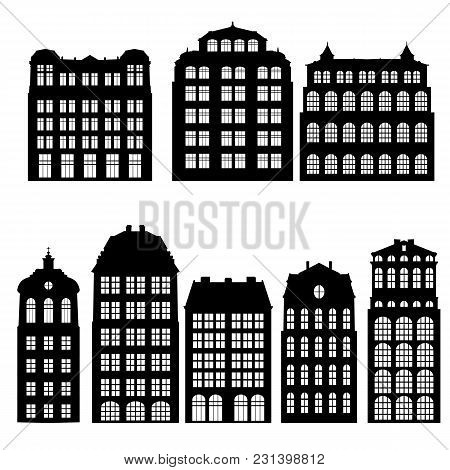 Silhouettes Of Houses, Isolated Urban Vector Elements, Hand Drawn Illustration