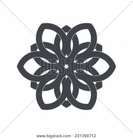 Intersecting Intertwining Lines. Geometric Flower, Circular Pattern. Vector Illustration