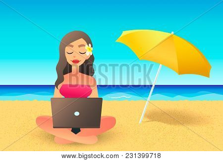 Young Woman Using Laptop Computer On A Beach. Freelance Work Concept. Cartoon Flat Girl Working Near