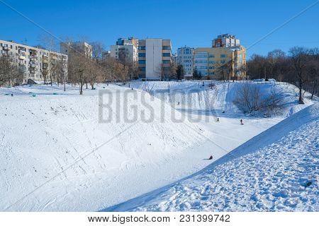 dwelling houses on high Volga bank in Nizhny Novgorod in winter
