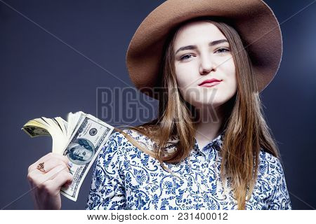 The Best Motivation Is Money. Happy Businesswoman Working For The Money. (perspective, Enrichment, F