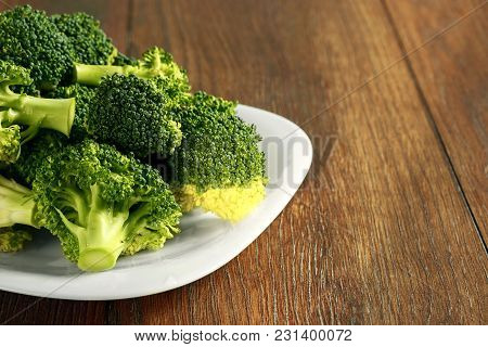 Healthy Green Organic Raw Broccoli Florets Ready For Cooking. The Concept Of Healthy Eating, Detox.