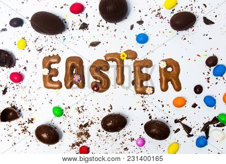 Easter Card Made Of Cookies With Chocolate Eggs On White