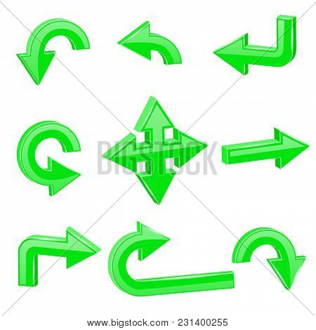 Green 3d Arrows. Different Directions. Vector Illustration Isolated On White Background