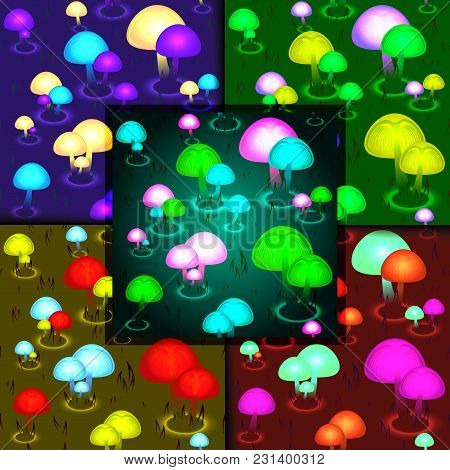 Abstract Glowing Mushrooms Seamless Pattern. Background Fungal Vector Illustration. Fantasy Mushroom