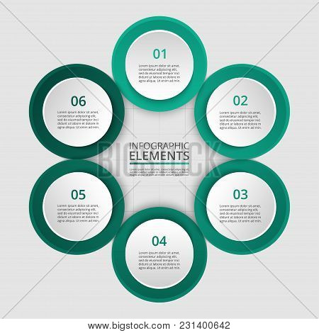 Step By Step Infographic. Template With 6 Numbers Can Be Used For Workflow Layout, Diagram, Chart, N