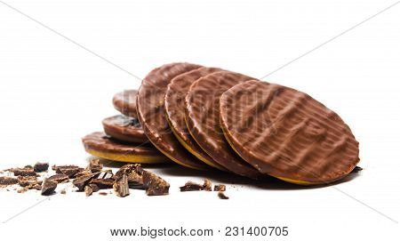 Round Chocolate Biscuits On White Background Isolated