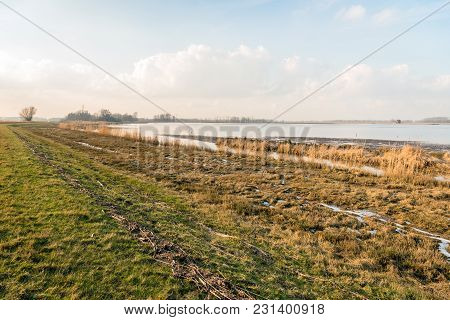 Shore Of A Wide Creek In A Dutch Nature Reserve During The Winter Season. After The High Water Has D