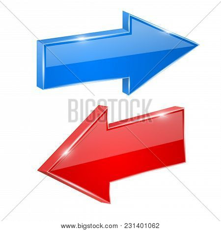 Red And Blue Shiny Arrows. Vector 3d Illustration Isolated On White Background