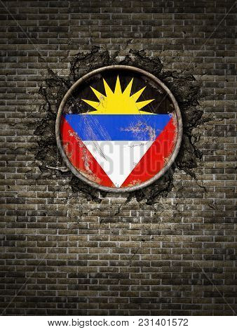 3d Rendering Of An Antigua And Barbuda Flag Over A Rusty Metallic Plate Embedded On An Old Brick Wal