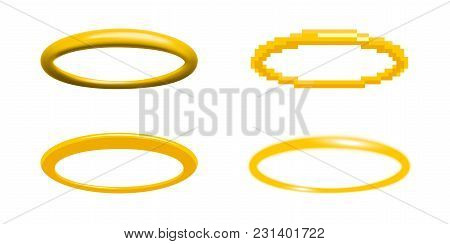 Golden Halo Vector Illustration In Four Different Styles Angel Ring Design Element Nimbus, Aureole,