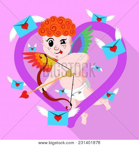Gay Valentines Day Amour Stock Vector Illustration. Rainbow Wings Cupid Aiming His Bow. Stylized Lgb