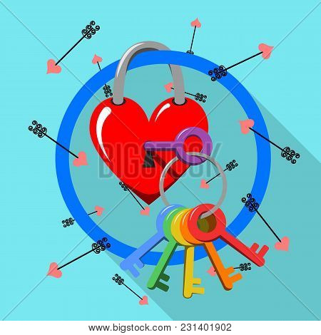 Gay Valentines Day Stock Vector Illustration. Rainbow Key And Love Heart Lock. Stylised Lgbt Flag Ic